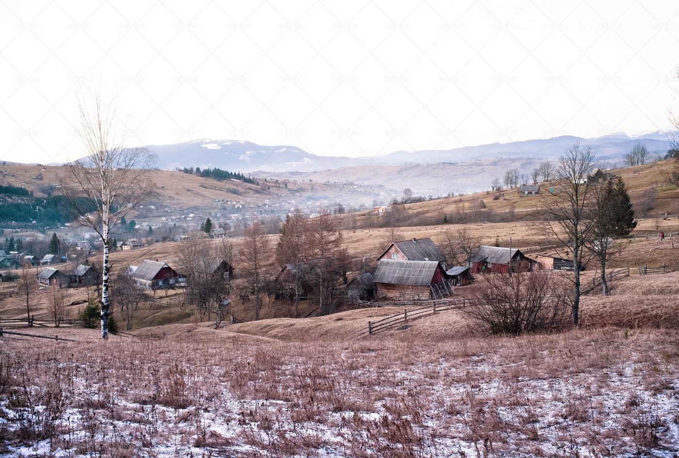 The Morning In The Mountain Village: Stock Photos