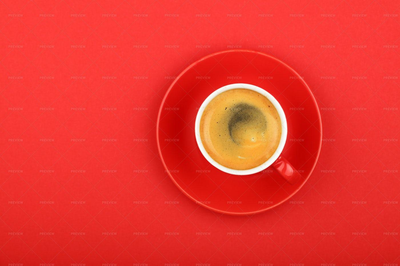 Espresso On Red: Stock Photos