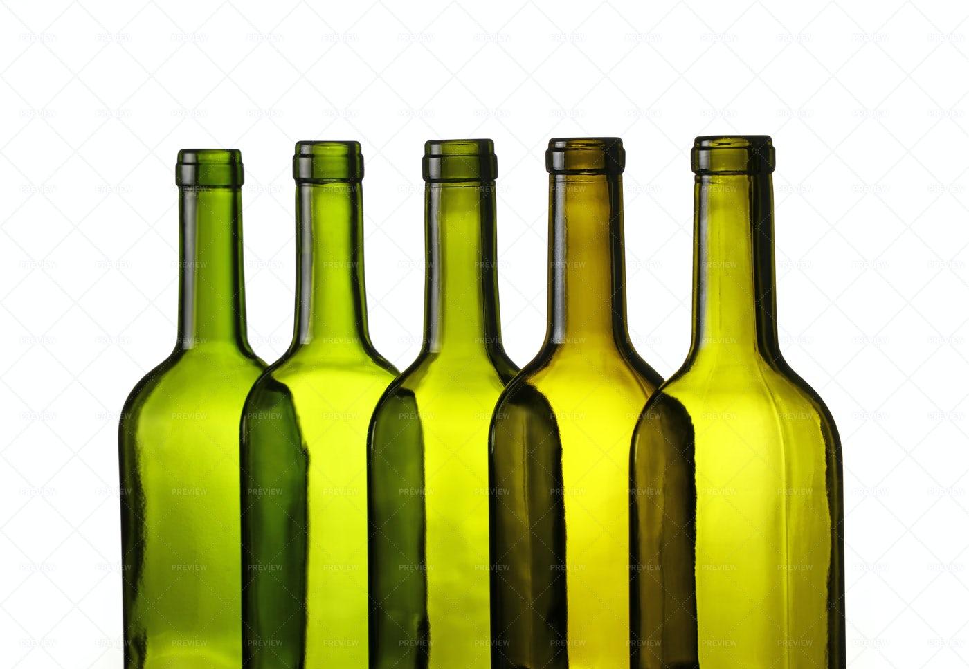 Empty Green Wine Bottles: Stock Photos