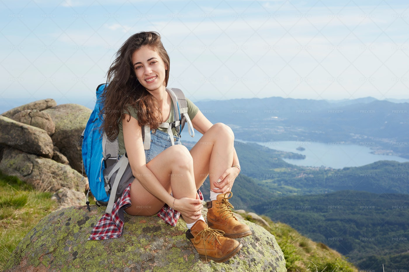 Hiker In The Top Of A Hill: Stock Photos