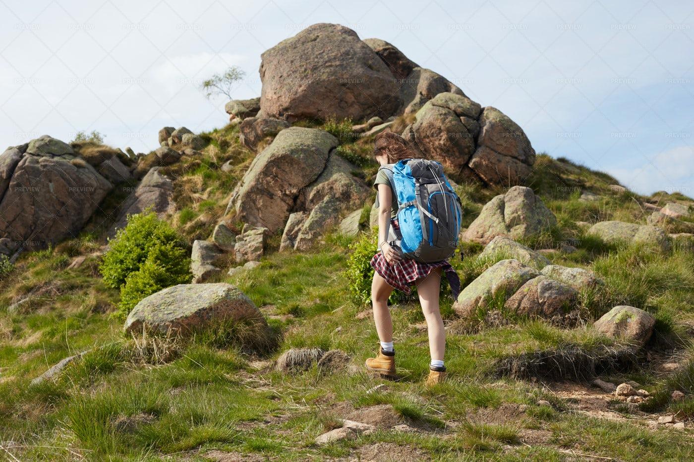 Hiker Climbing A Mountain: Stock Photos