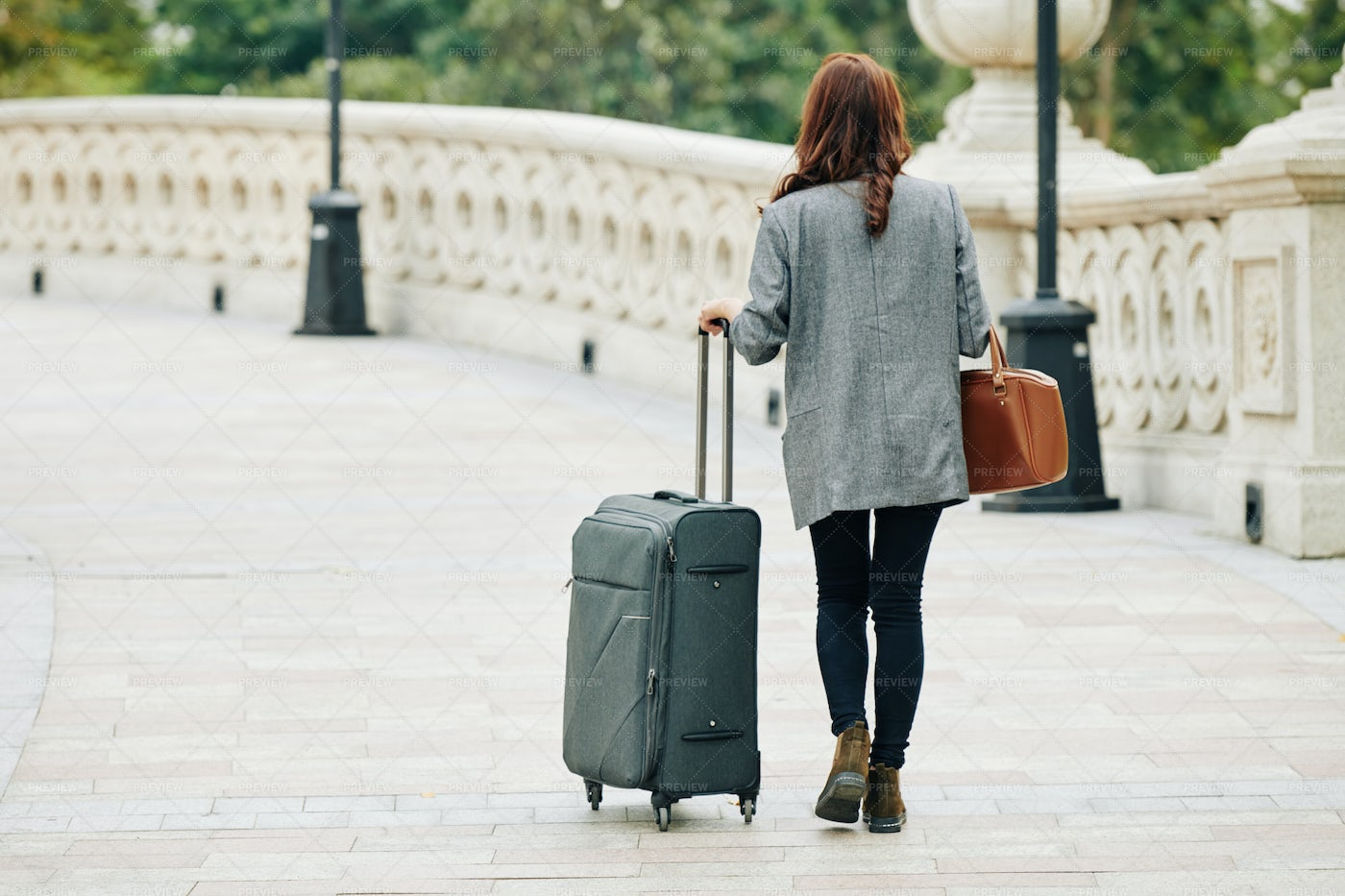 Walking Woman With Big Suitcase: Stock Photos