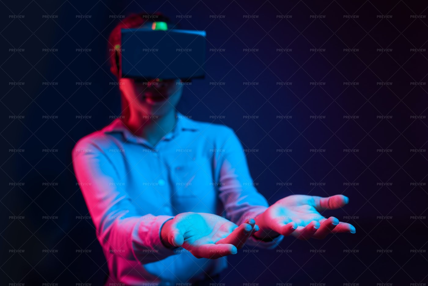 Businesswoman In Vr Goggles Holding: Stock Photos
