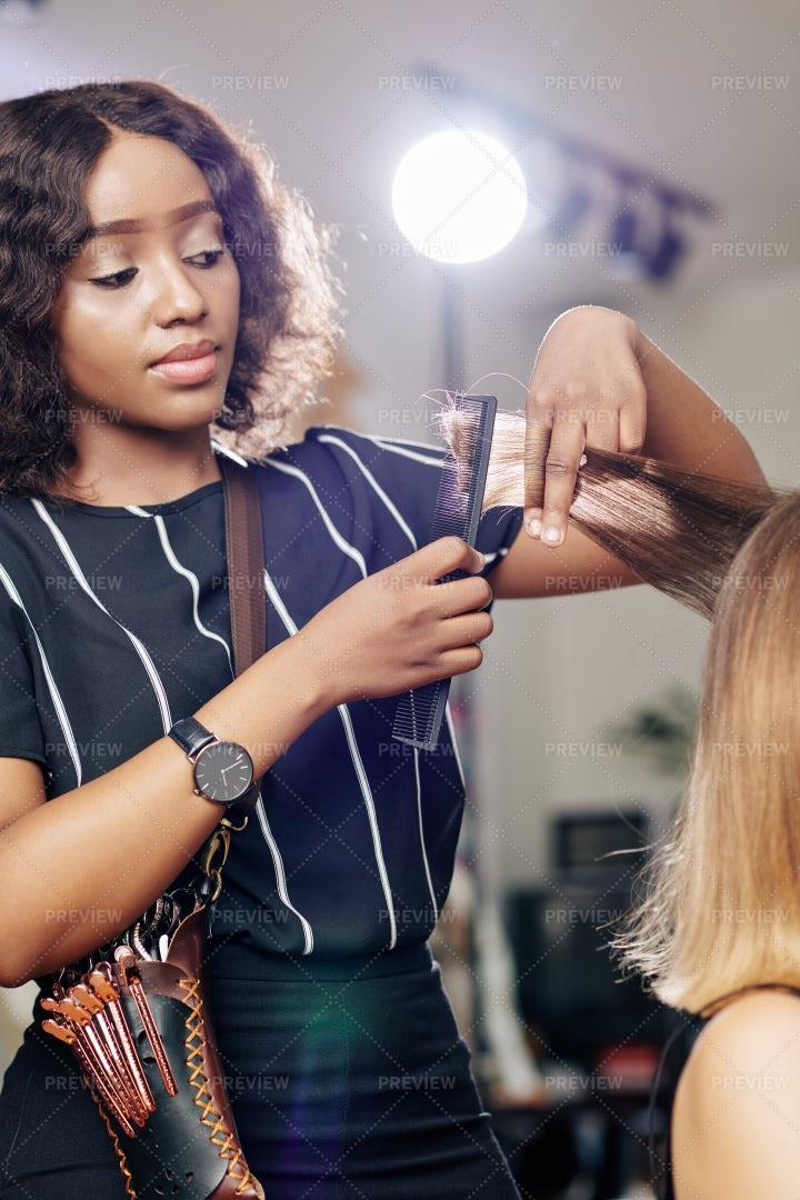 Hair Stylist Brushing Hair Section: Stock Photos
