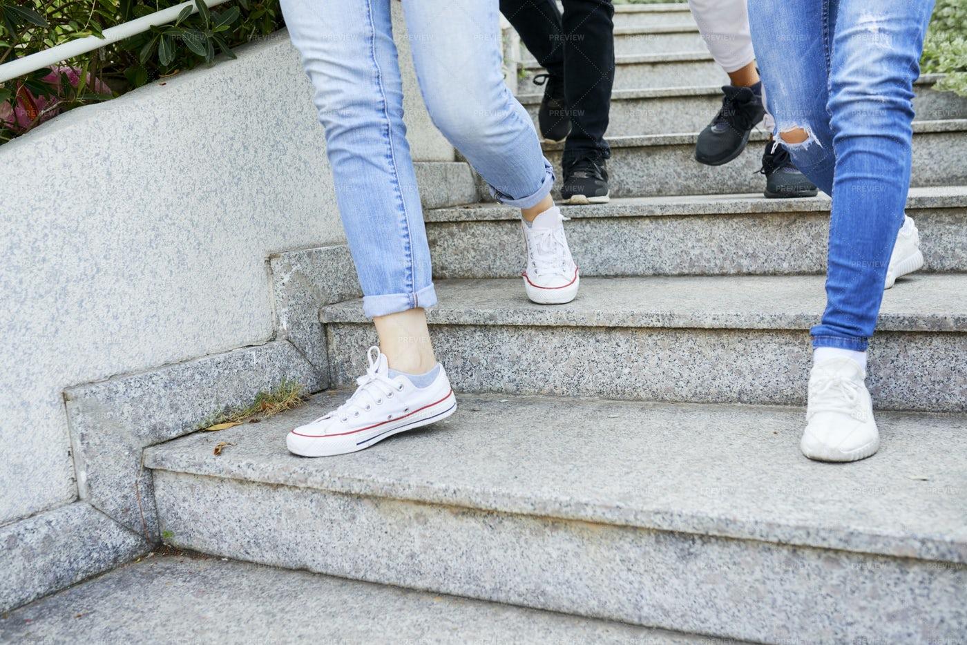 Feet Of Walking People: Stock Photos