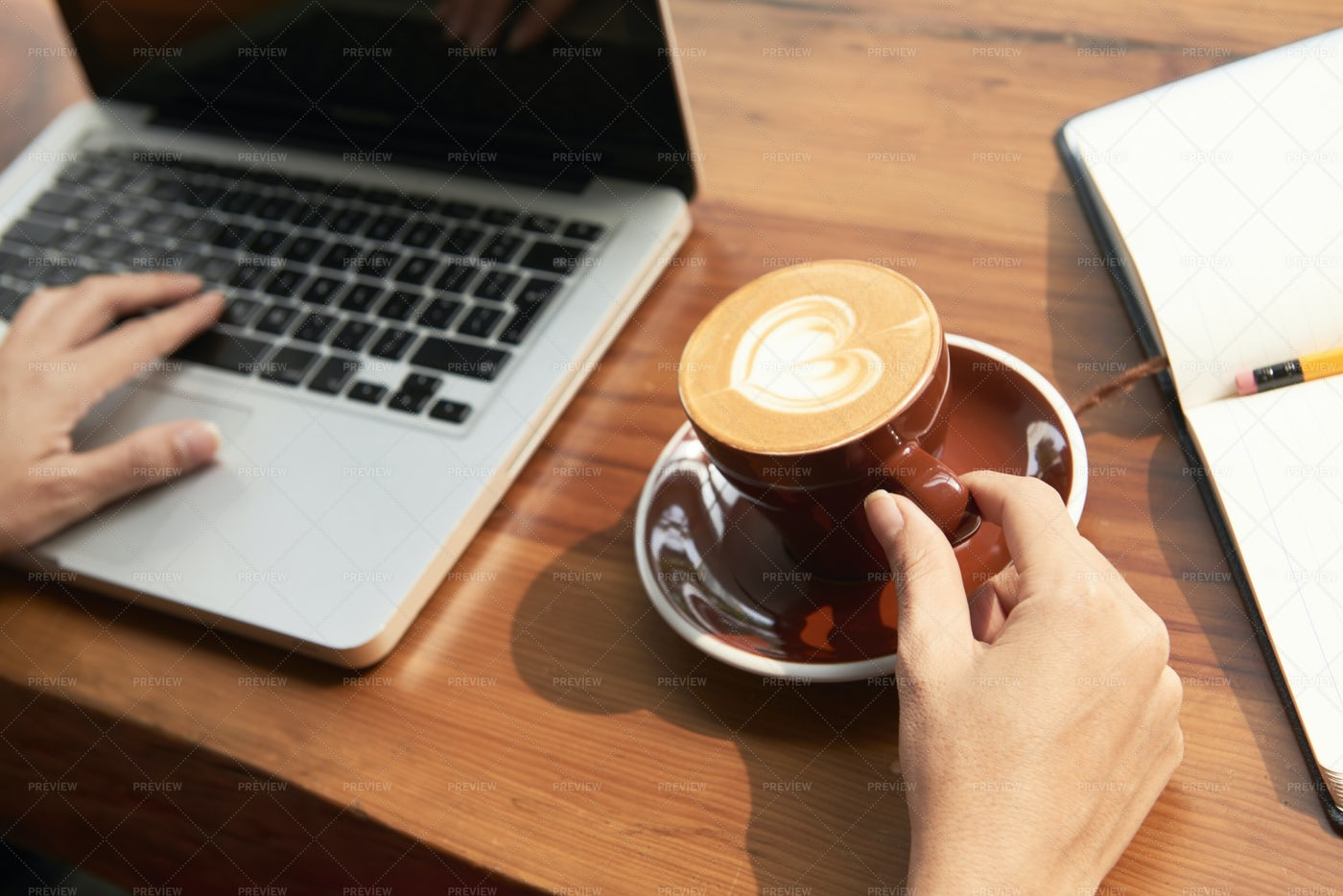 Working At Cafe: Stock Photos