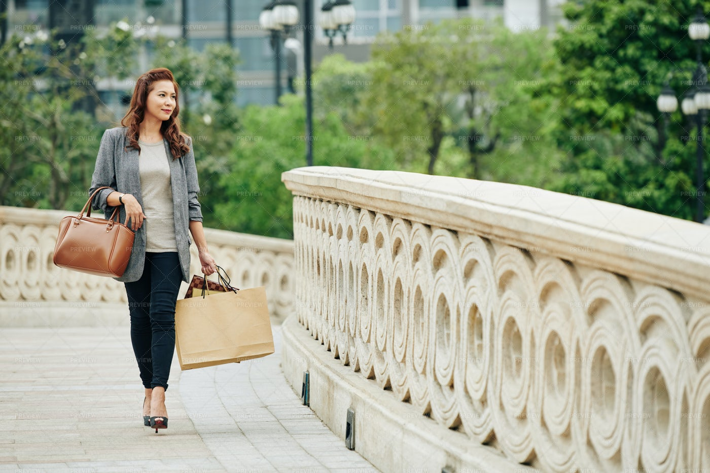 Elegant Woman With Shopping Bags: Stock Photos