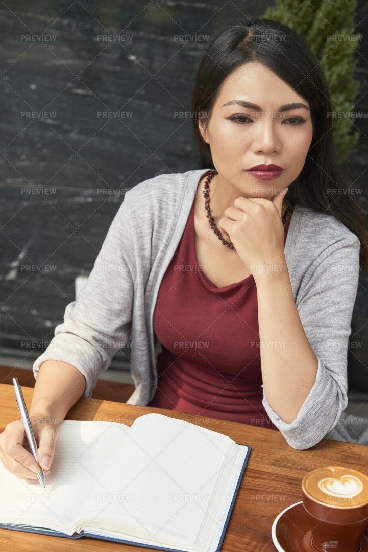 Female Writer At Work: Stock Photos