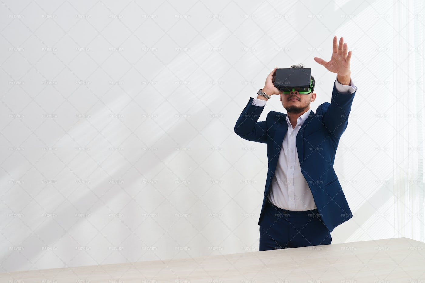Businessman In Vr Glasses Controlling: Stock Photos