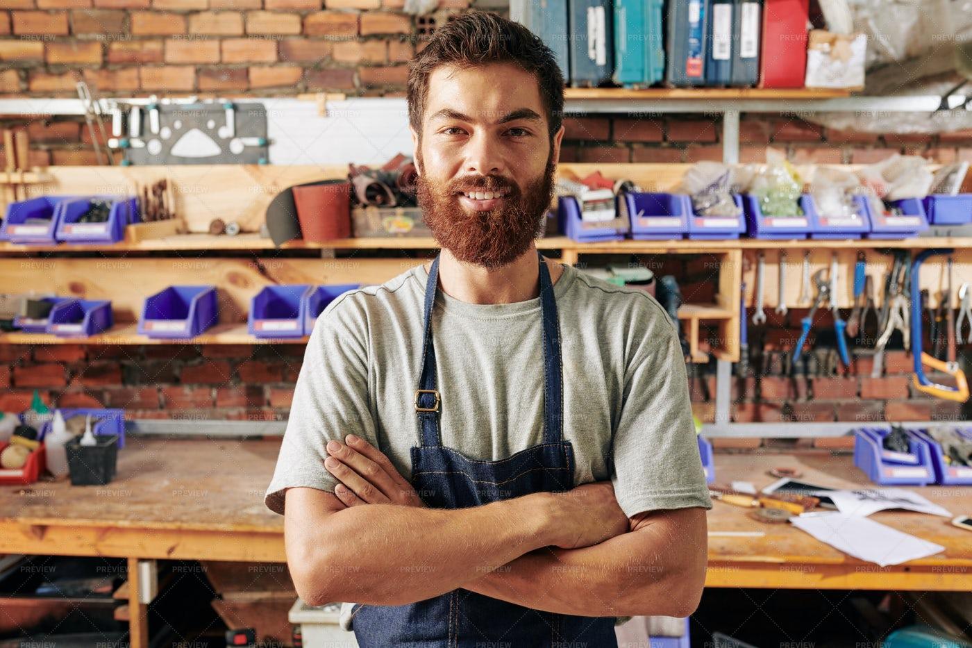 Smiling Confident Carpenter: Stock Photos