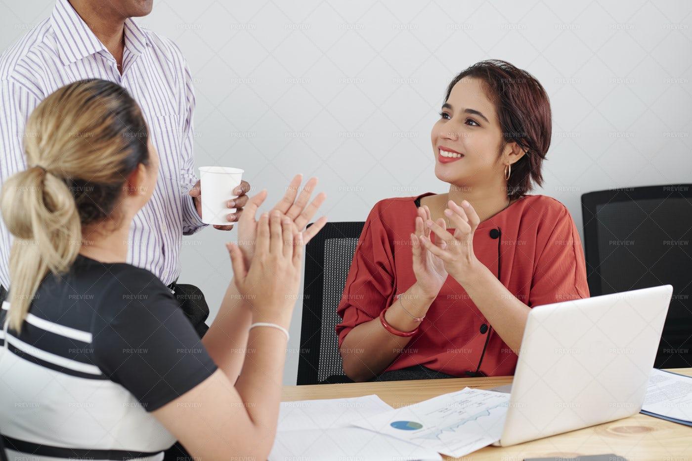 Businesswomen Greeting Their Leader: Stock Photos