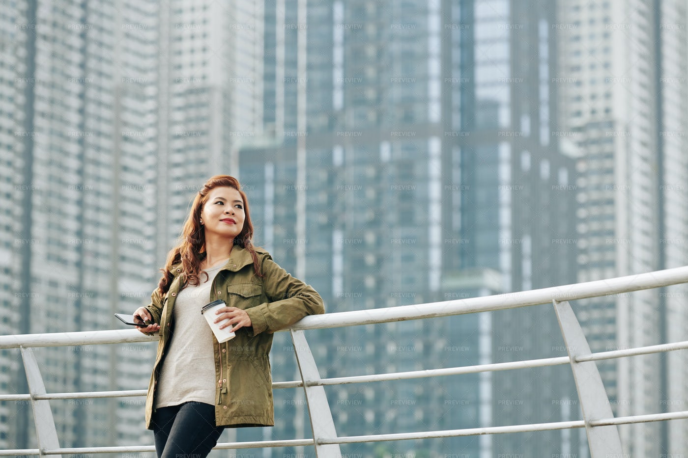 Smiling Woman Standing On Bridge: Stock Photos