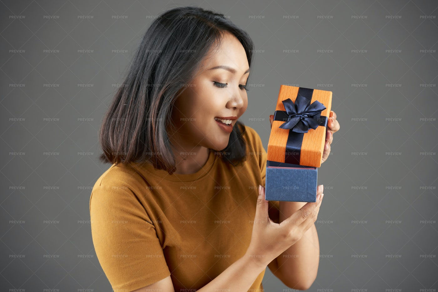 Woman With Gift Box: Stock Photos