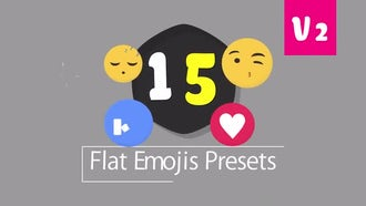 15 Flat Emojis Presets Pack V2: After Effects Templates