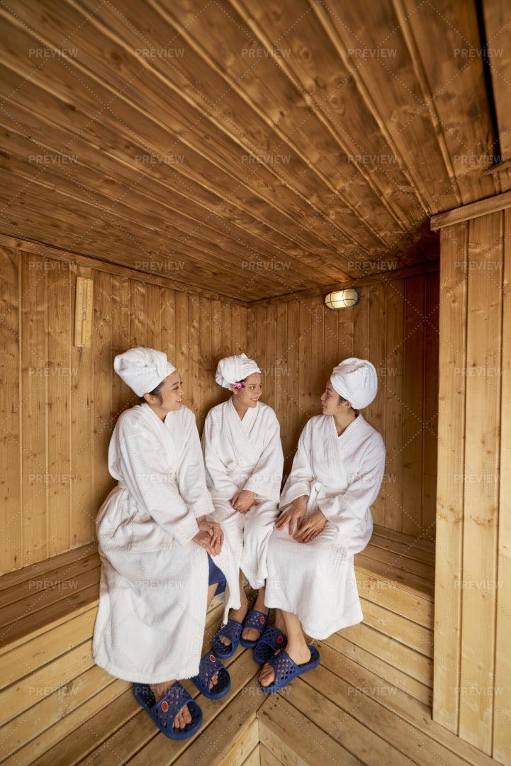 Girls Relaxing In Sauna: Stock Photos