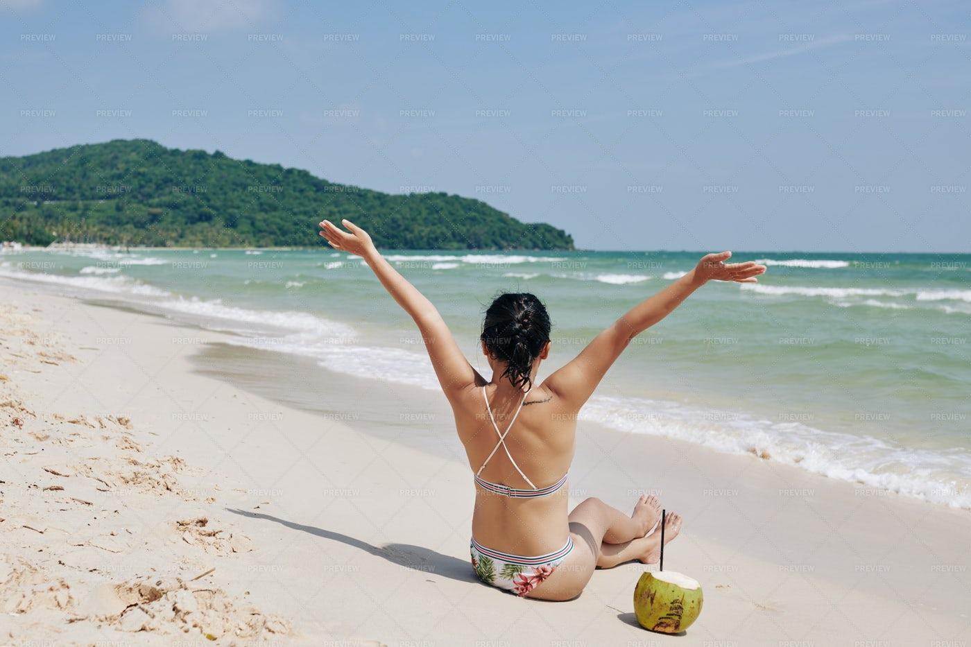 Woman Enjoying Great Vacation: Stock Photos
