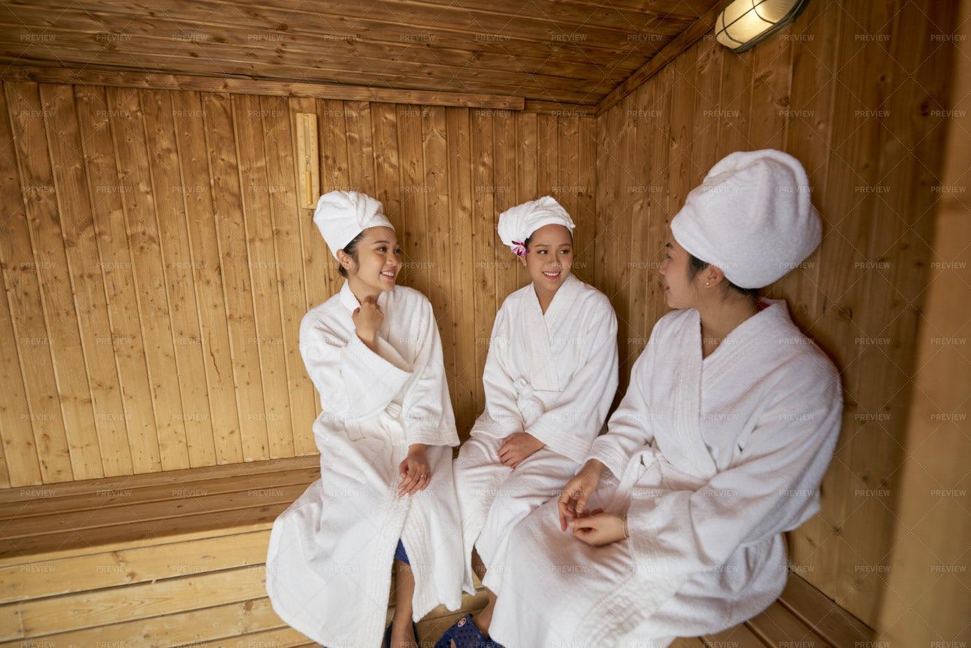 Group Of Women Relaxing In Sauna: Stock Photos