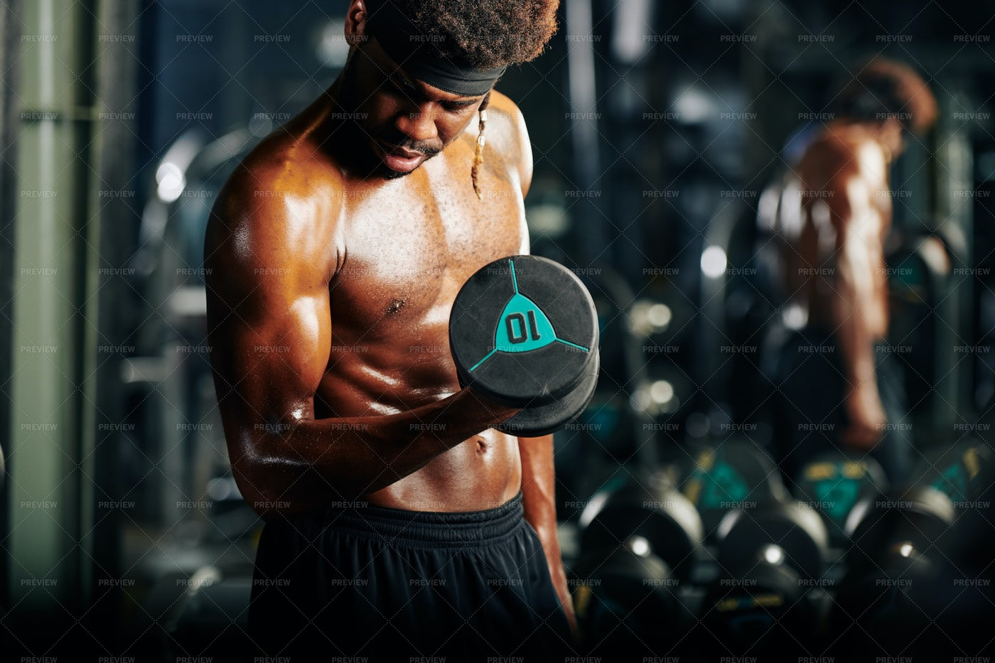 Sportsman Getting Biceps Pump: Stock Photos
