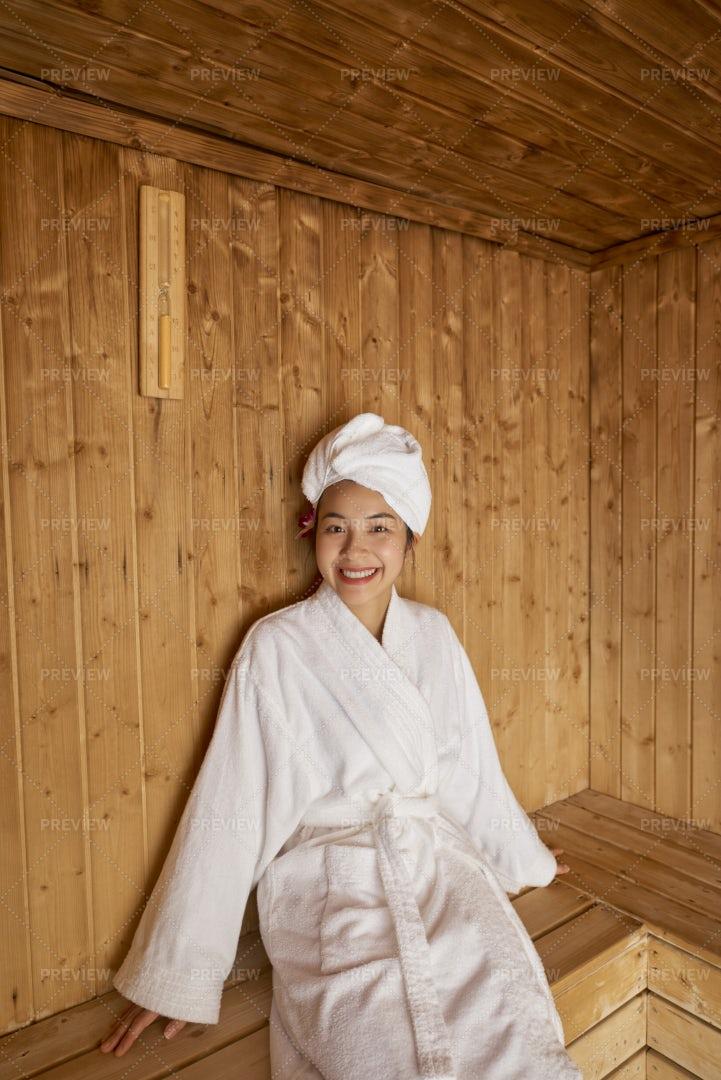 Woman Relaxing In Sauna: Stock Photos