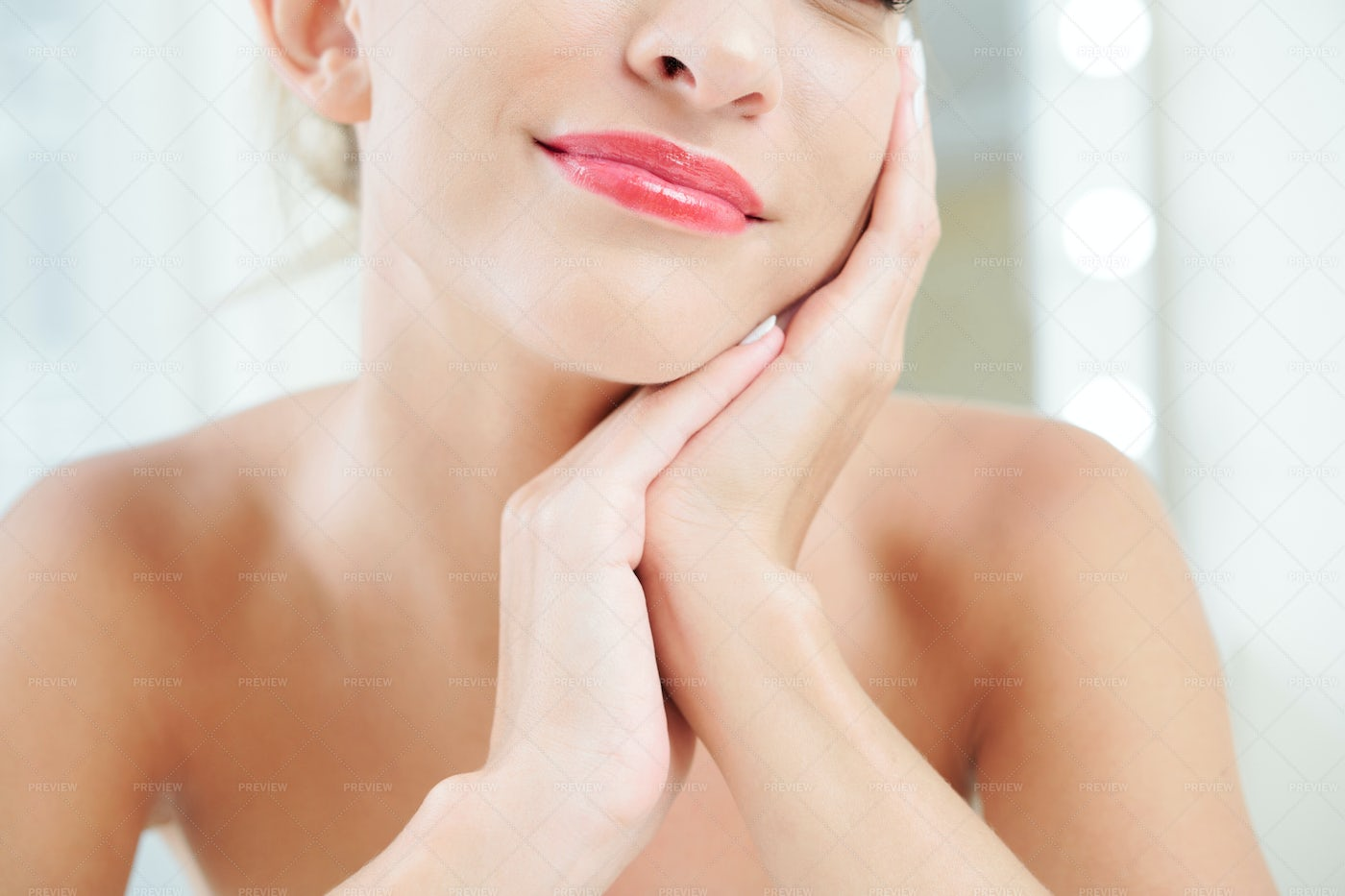 Smiling Woman With Pink Lip Gloss: Stock Photos