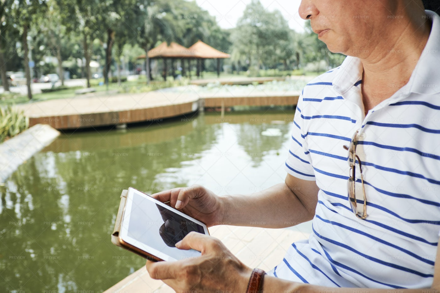 Senior Man Using Digital Tablet: Stock Photos