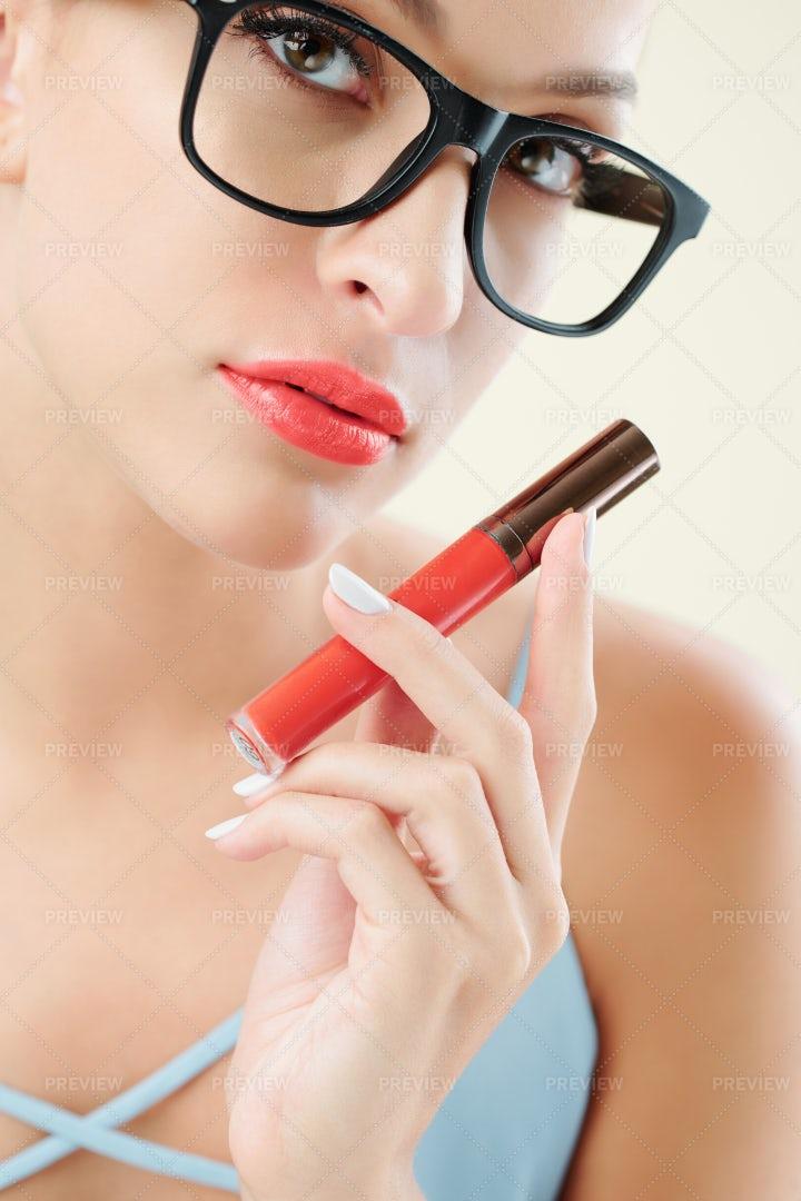 Woman Showing Bright Lipstick: Stock Photos