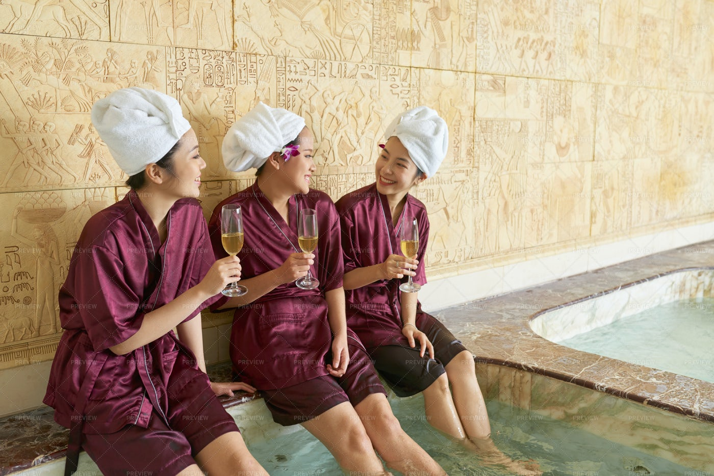 Group Of Women Relaxing At Beauty Salon: Stock Photos