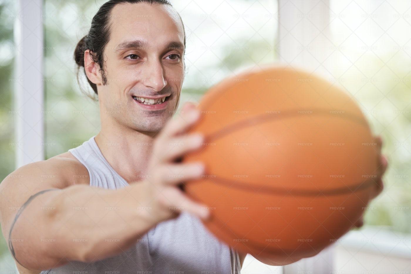 Smiling Man Doing Balance Exercise: Stock Photos