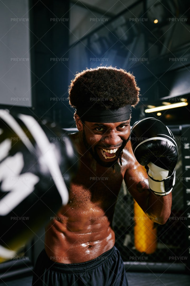 Excited Shirtless Muay Thai Boxer: Stock Photos
