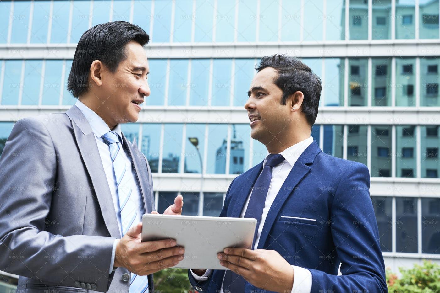 Two Businessmen Talking Outdoors: Stock Photos