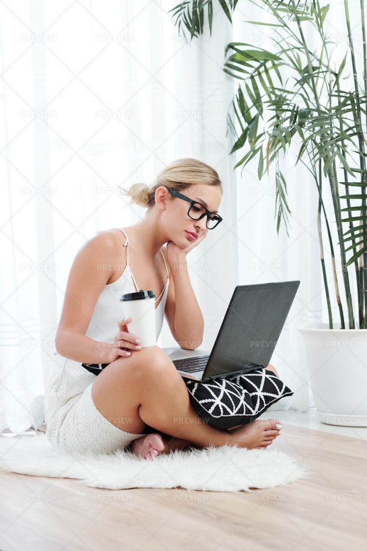 Woman Watching Lection Online: Stock Photos