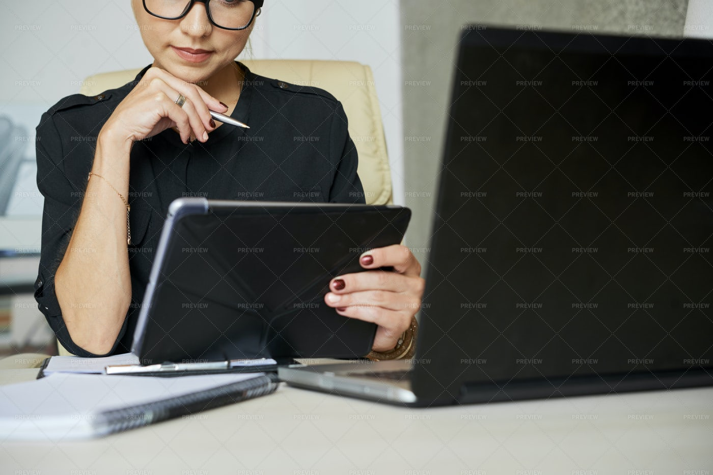 Pensive Business Lady With Tablet: Stock Photos