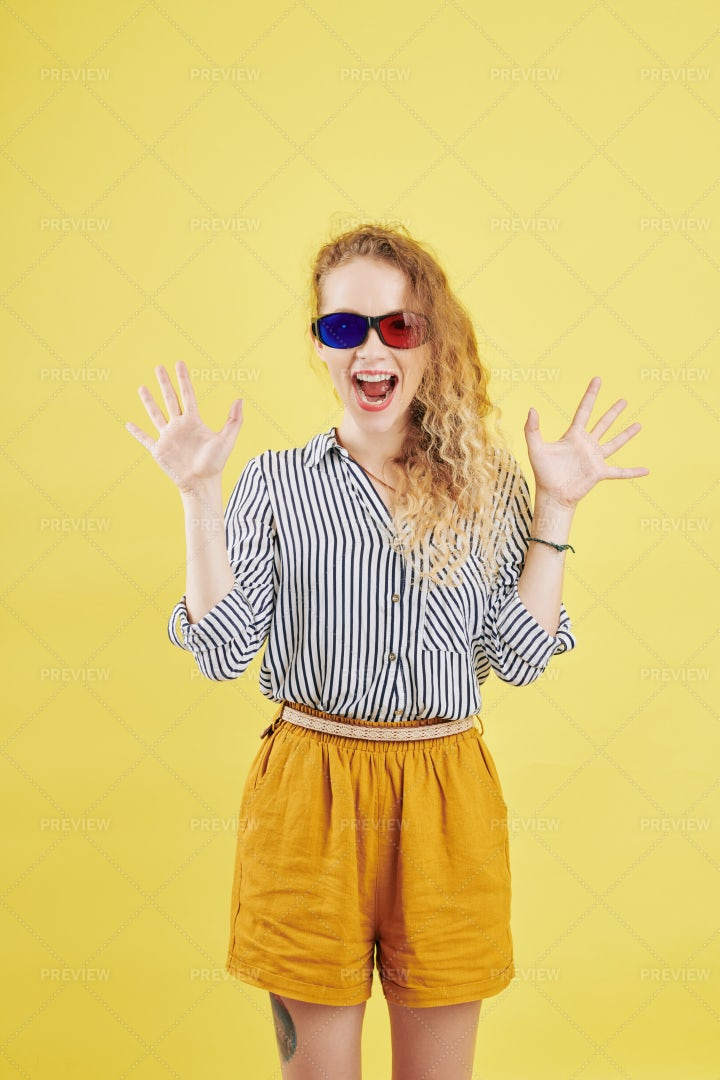 Shouting Woman In 3D Glasses: Stock Photos