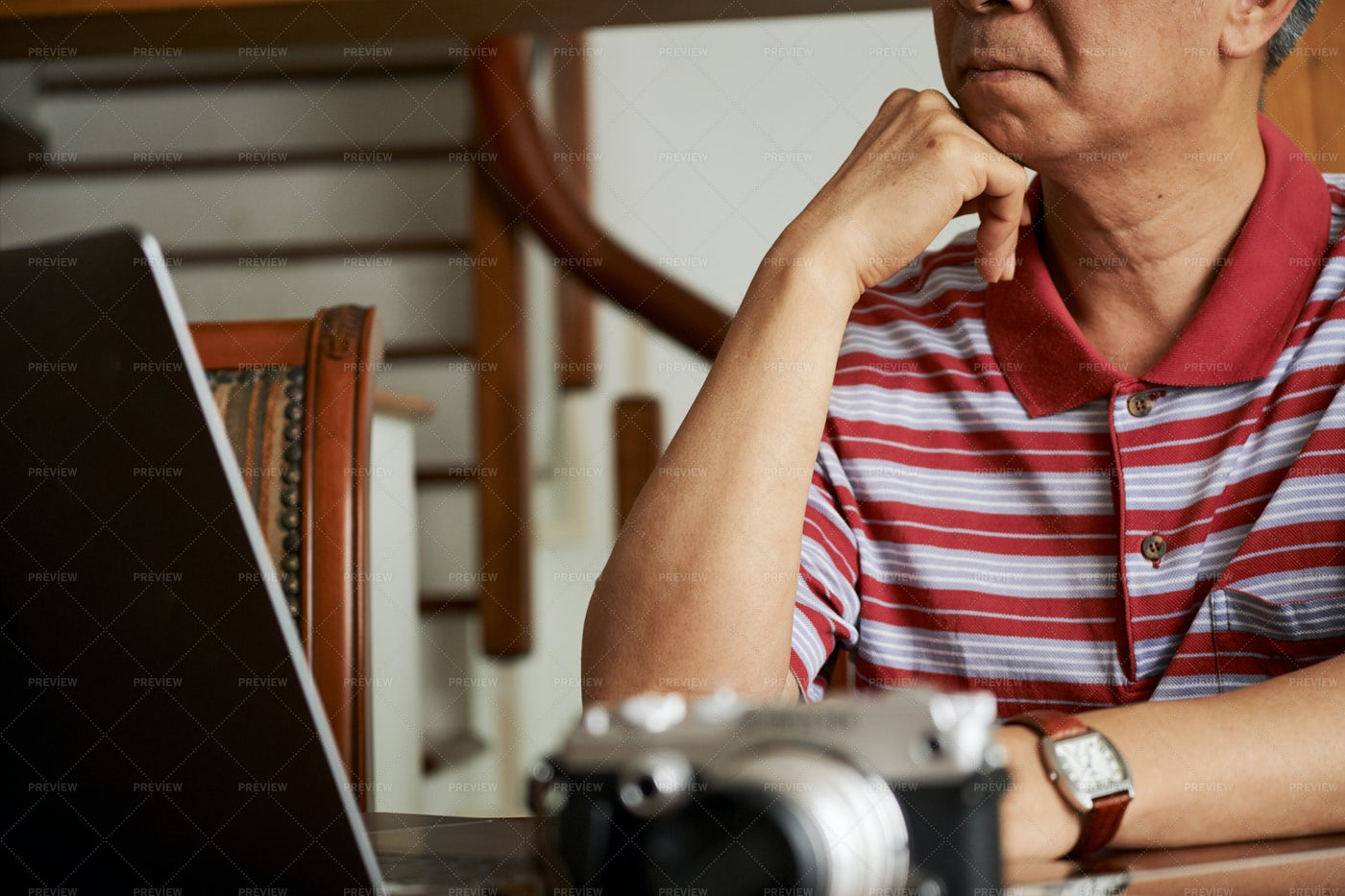 Photographer Working At Home: Stock Photos