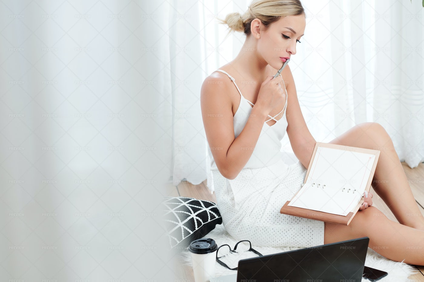 Pretty Woman Checking Planner: Stock Photos