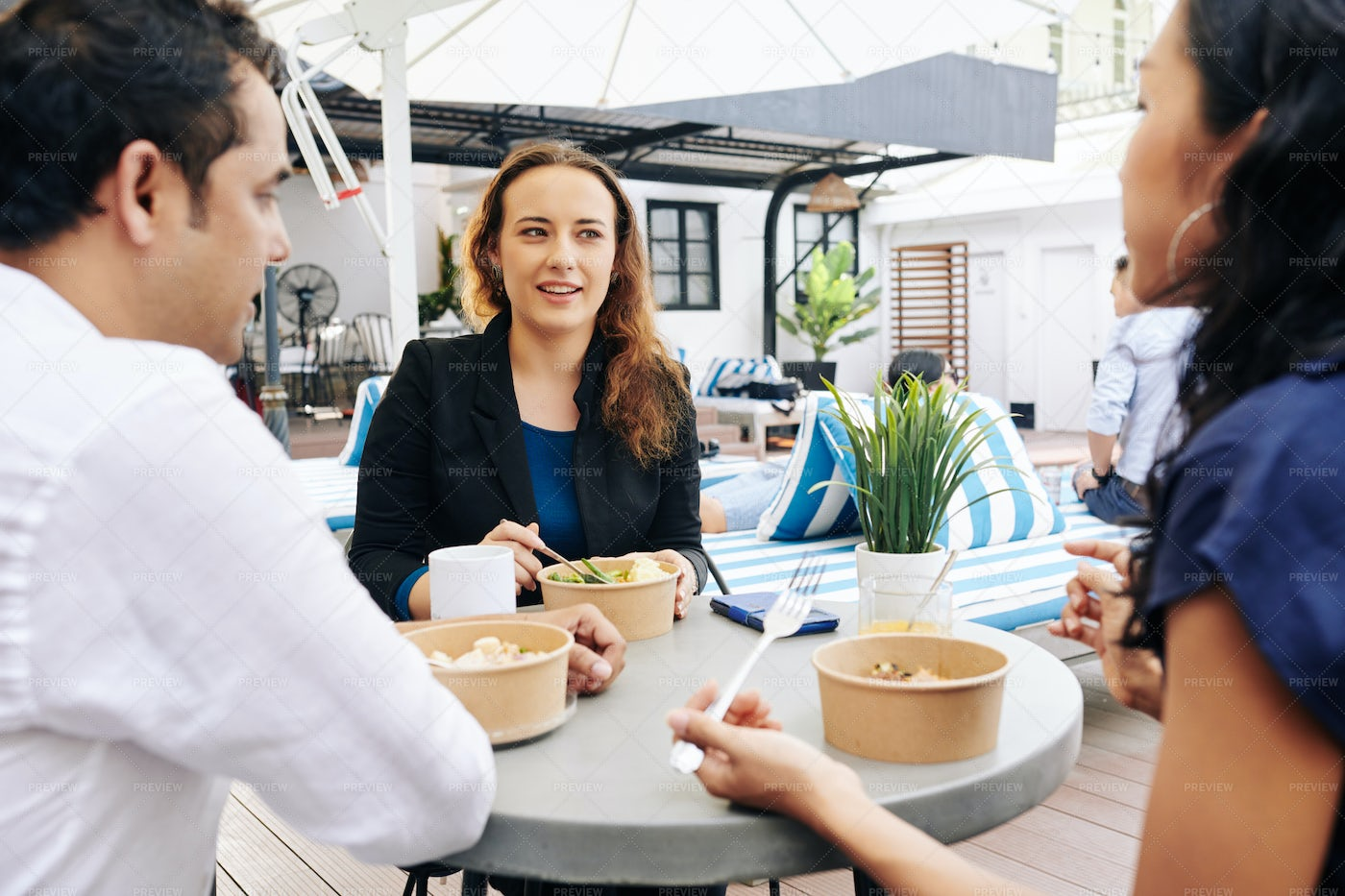 Businesswoman Having Lunch With: Stock Photos