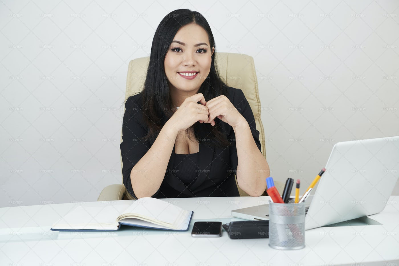 Office Manager Working At Office: Stock Photos