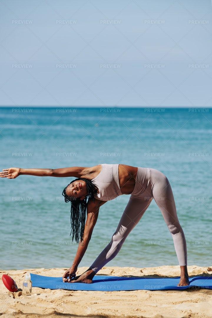 Stretching Black Woman: Stock Photos