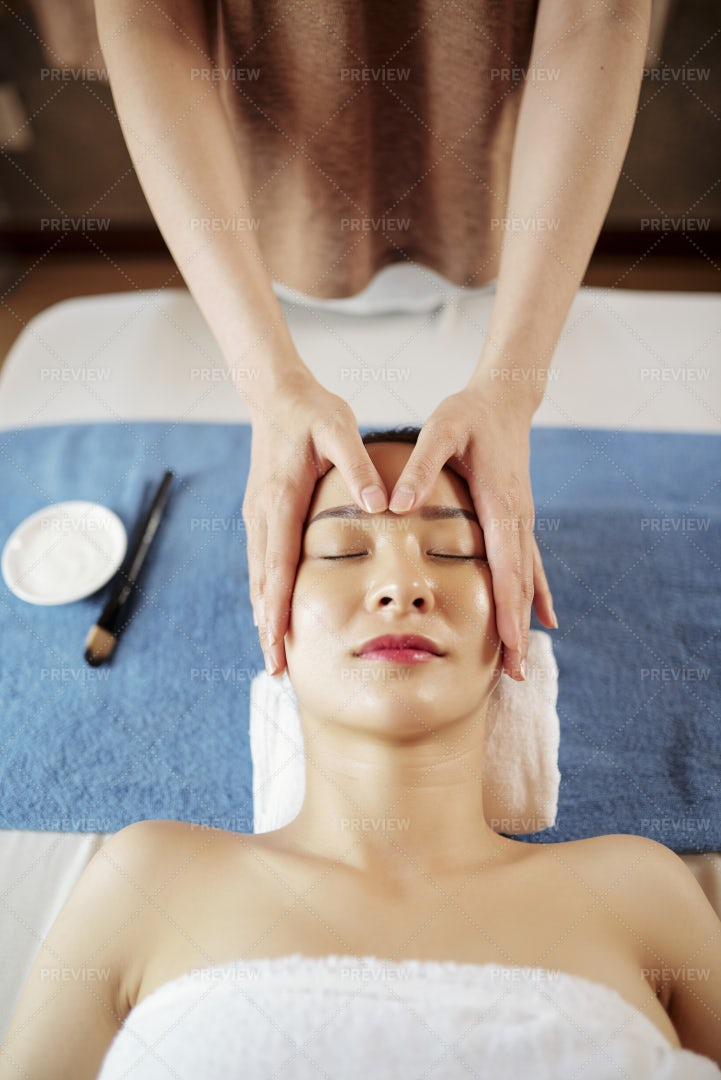 Face Massage With Oils: Stock Photos