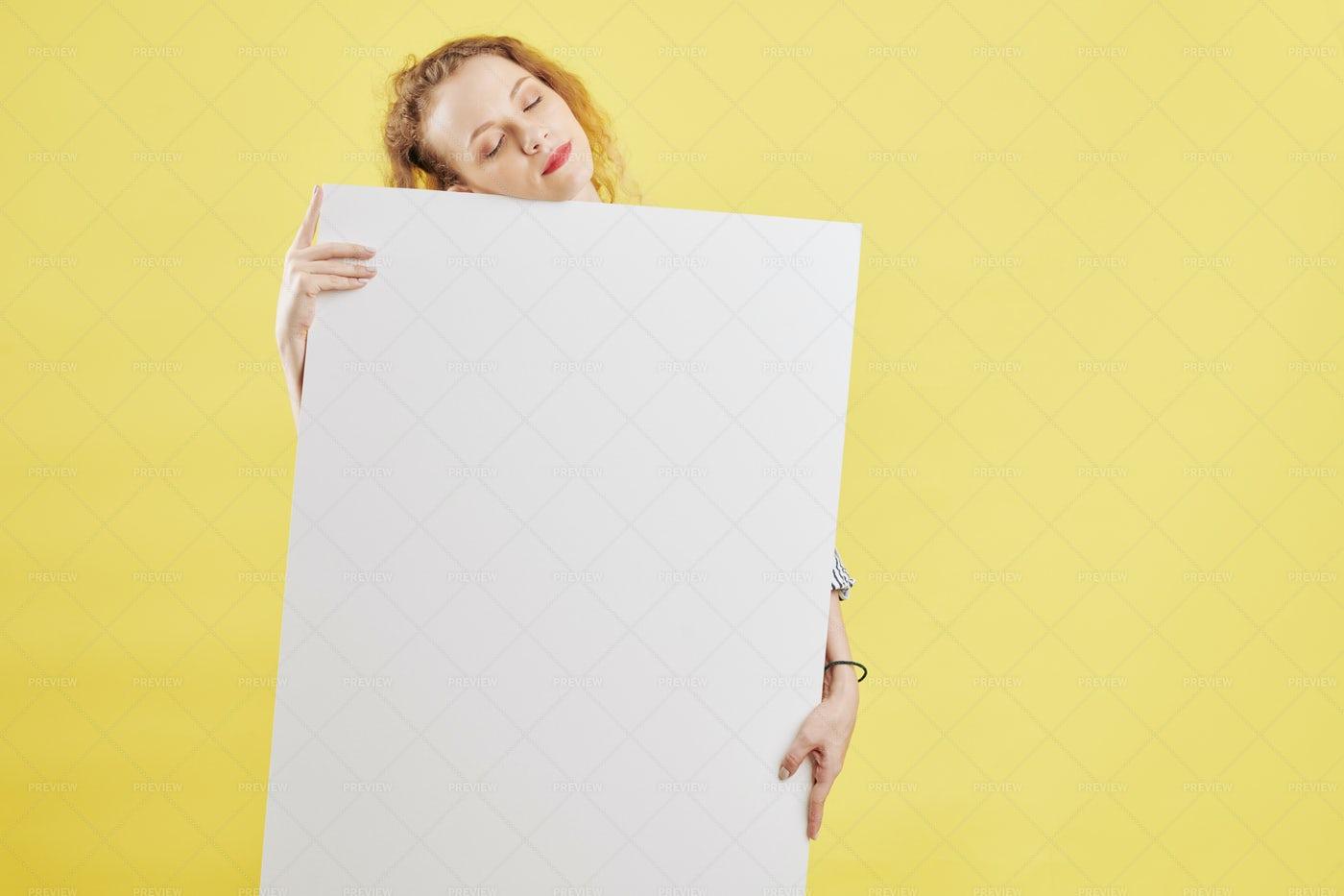 Sleepy Woman With Paper Placard: Stock Photos