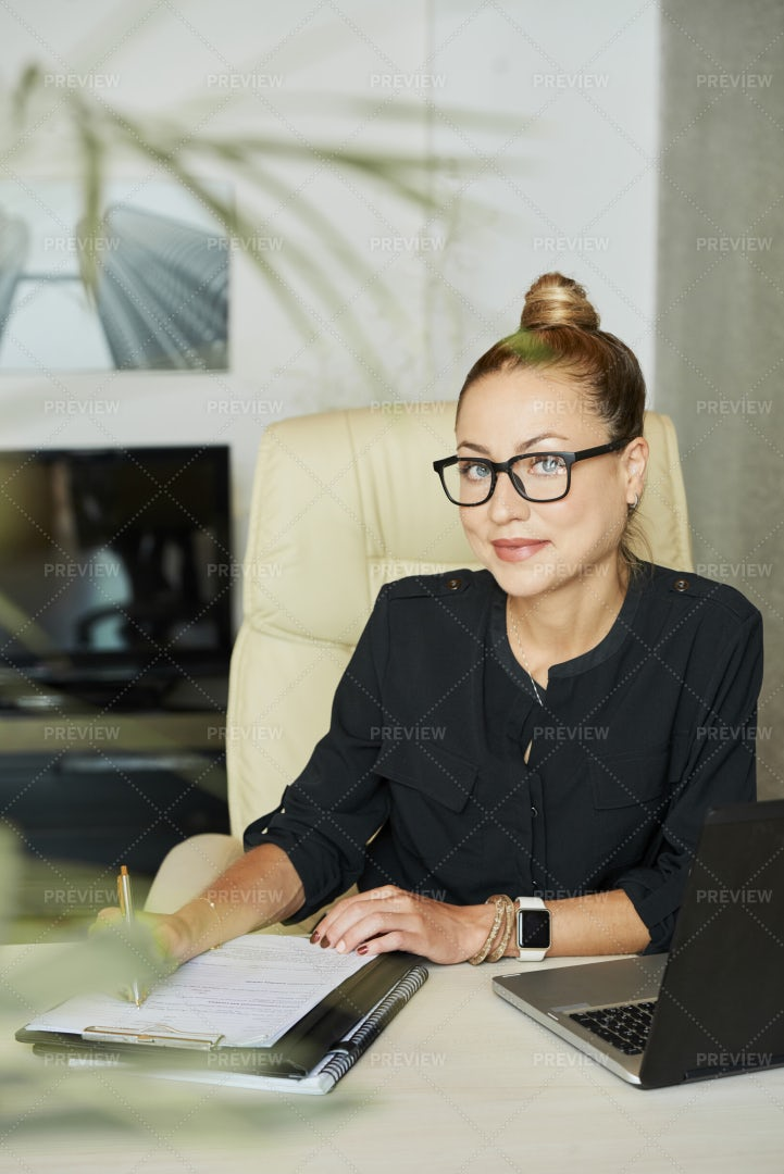 Happy Business Lady At Her Office Table: Stock Photos