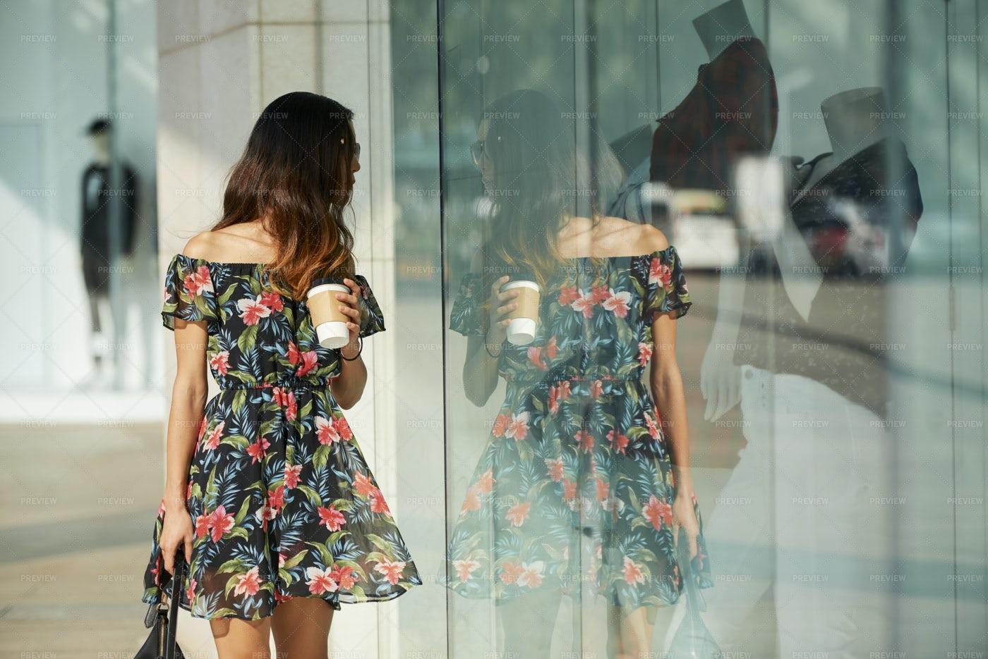 Pretty Woman Walking In The Street: Stock Photos