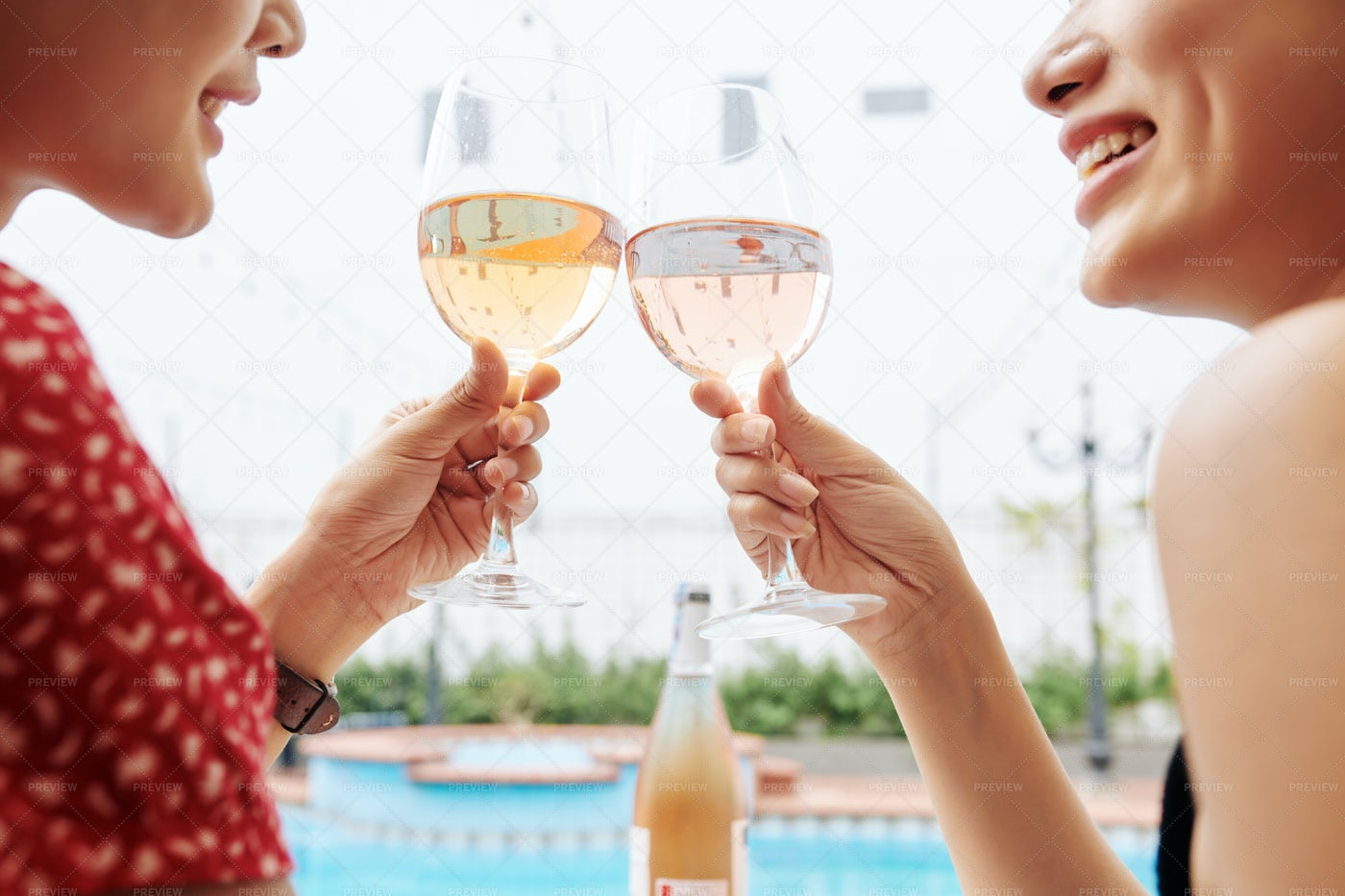 Friends Relaxing By Swimming Pool: Stock Photos