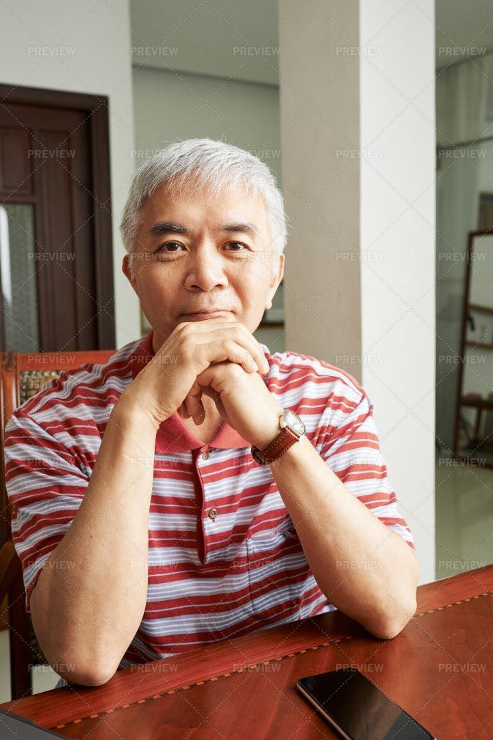 Asian Senior Man At Home: Stock Photos