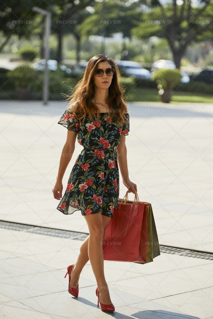 Pretty Woman With Shopping Bags: Stock Photos