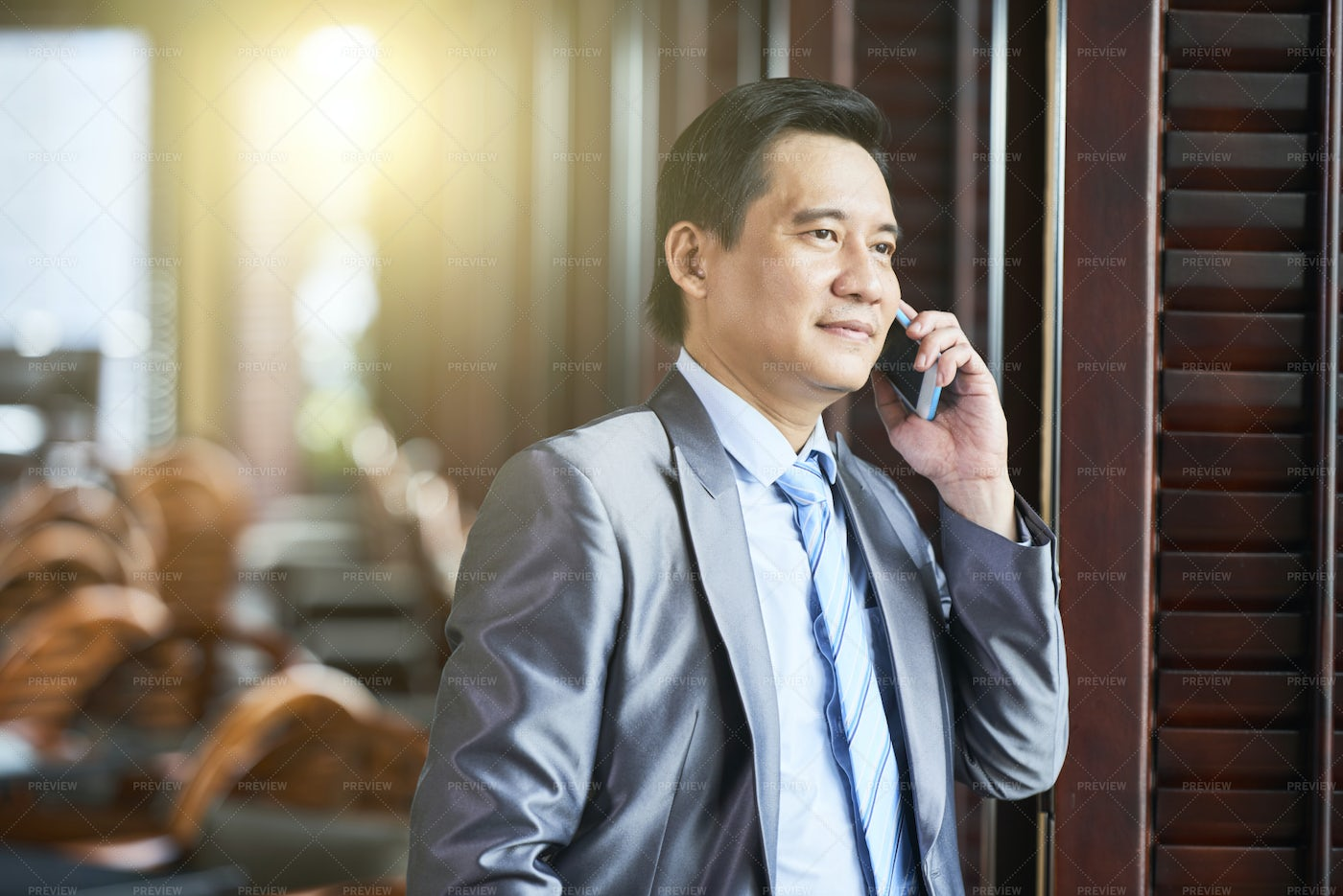 Business Manager Talking On Phone: Stock Photos