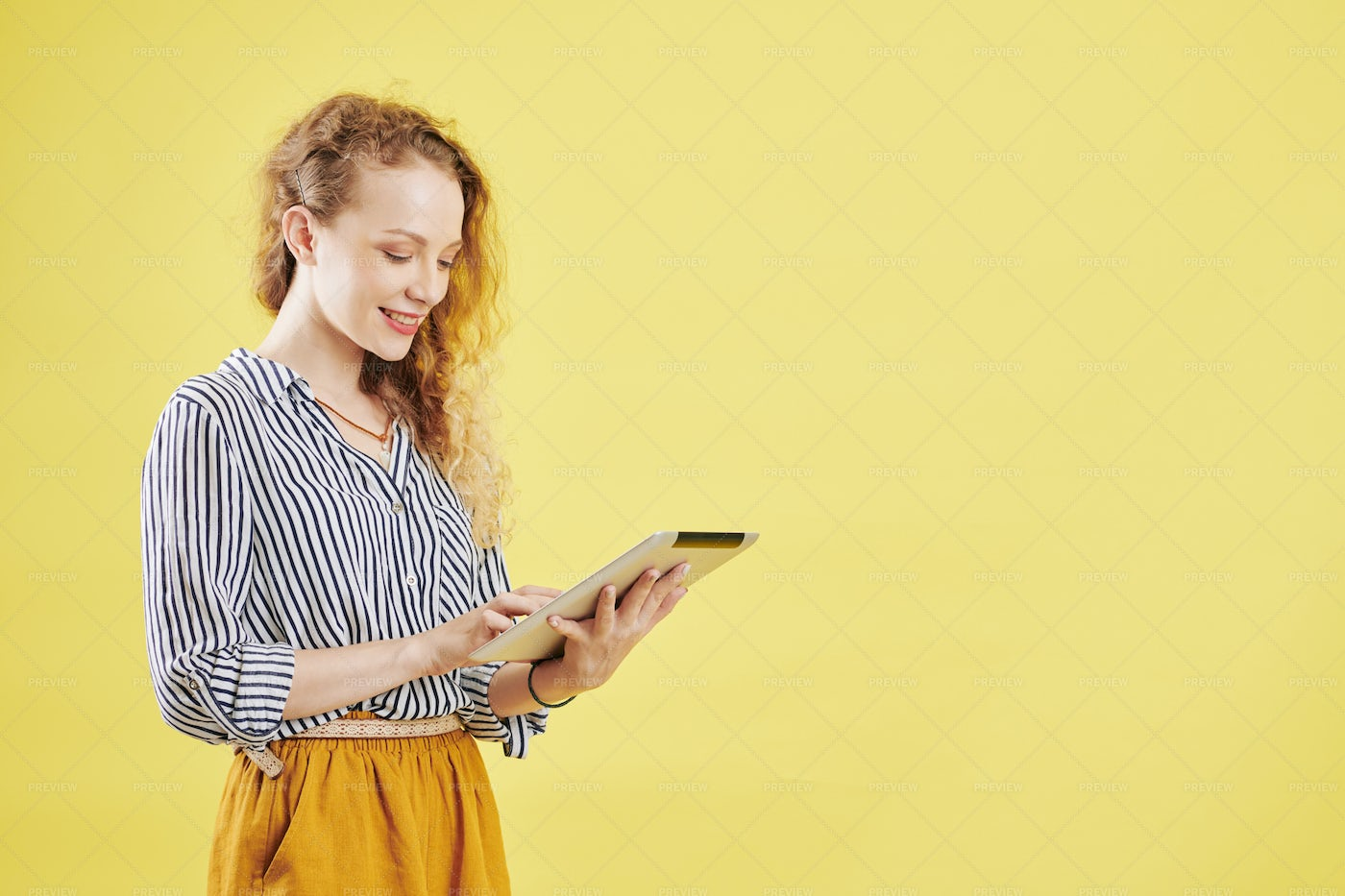 Woman Using Application On Tablet: Stock Photos