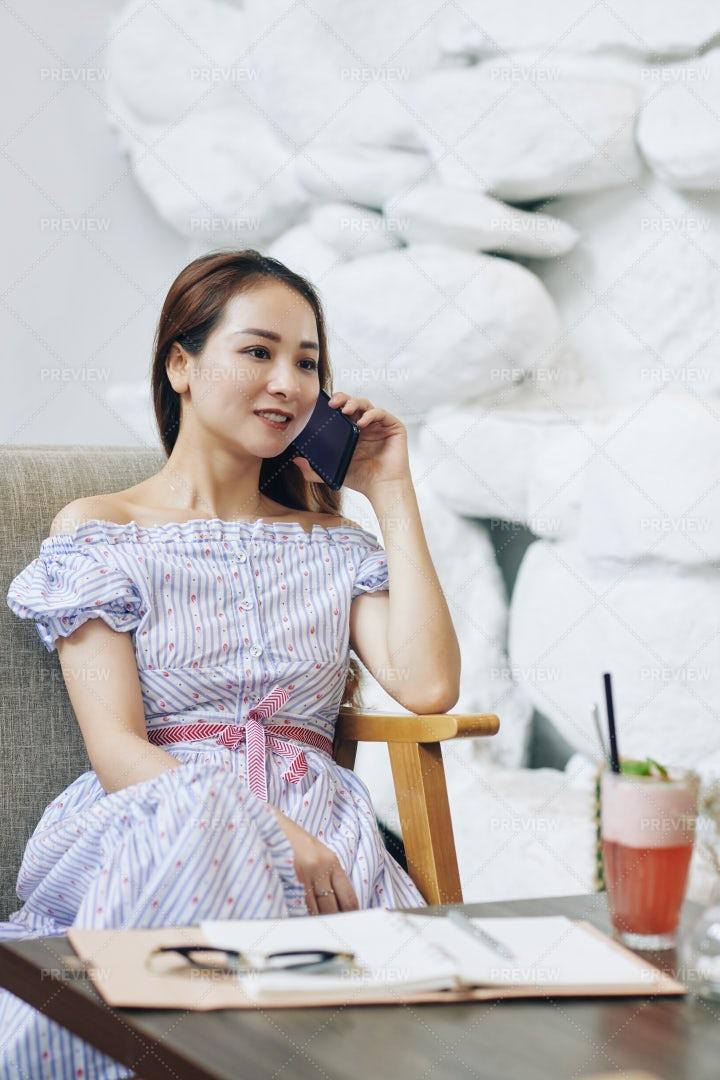 Positive Woman Calling On Phone: Stock Photos
