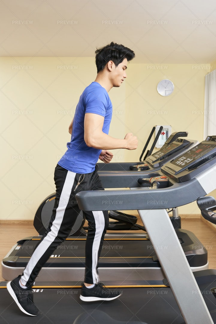 Young Athlete Running In Gym: Stock Photos