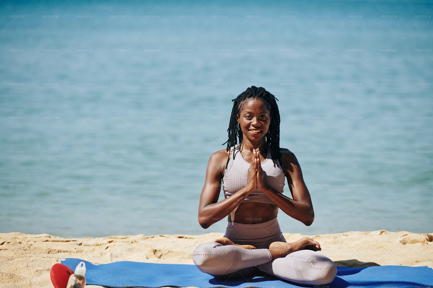 Happy Woman Showing Namaste Gesture: Stock Photos